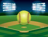 Softball On Softball Field poster