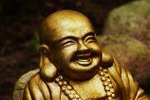 picture of buddha  - Golden Buddha statue in a botanical garden - JPG