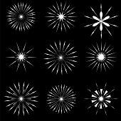 image of starburst  - Set of Starbursts SYmbols Isolated on Black Background - JPG