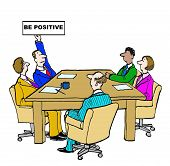 picture of humility  - Business cartoon of meeting and manager holding sign that reads - JPG
