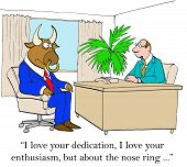 foto of nose piercing  - Business cartoon about boss who is concerned about associate - JPG