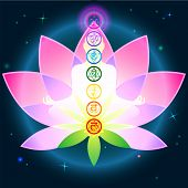 stock photo of tantric  - Stylish image symbol chakra man on a dark background in the Lotus - JPG