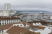 stock photo of marina  - Top view of the Marina of Ponta Delgada  - JPG