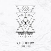 stock photo of occult  - Vector geometric alchemy symbol with eye - JPG