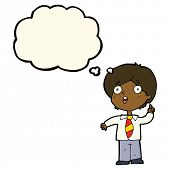 picture of schoolboys  - cartoon schoolboy answering question with thought bubble - JPG