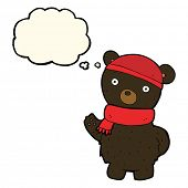 stock photo of crazy hat  - cartoon black bear in winter hat and scarf with thought bubble - JPG