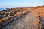 stock photo of dirt road  - Long Straight Dirt Desert Road disappears into the Horizon - JPG