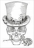 image of top-hat  - human skull in a top hat baron samedi - JPG