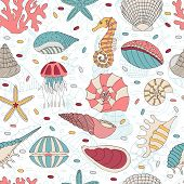 pic of starfish  - Wonderful vector seamless pattern of seashells - JPG