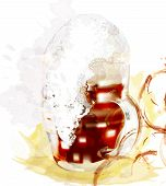 image of boose  - Grunge poster with full grass of light beer with foam create in watercolor style - JPG