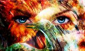 stock photo of makeup artist  - beautiful blue women eyes beaming color feathers effect painting collage and bird phoenix artist makeup - JPG