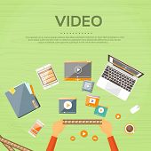 Video Editor Workplace Hands Laptop Player Flat poster