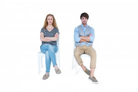 foto of not talking  - Angry couple not talking after argument on white background - JPG