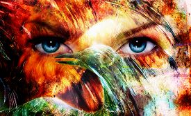 image of animal eyes  - beautiful blue women eyes beaming color feathers effect painting collage and bird phoenix artist makeup - JPG