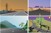 Ilustración con cuatro paisajes road