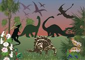illustration with dinosaurs in green forest