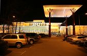 stock photo of parking lot  - Mega shop night outdoor - JPG