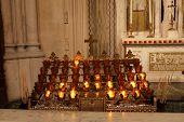 Burning Candles In Cathedral Of St. Patrick