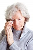 Old Woman Crying With Handkerchief