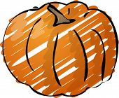 Sketch of a pumpkin. Hand-drawn lineart look illustration