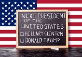 American Election Concept With Flag And Handwriting Text Next President Of United States Donald Trum poster