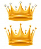 Crown set. Golden royal crowns with diamond and without, isolated on white background. Crown - symbo poster