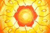 Closeup Of Bright Orange Painted Picture With Circle Pattern, Mandala Of Svadhisthana Chakra