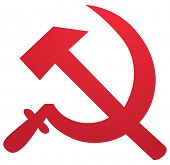 stock photo of hammer sickle  - Soviet USSR hammer and sickle political symbol - JPG