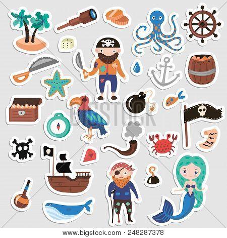 Set Of Pirates Vector Cartoon