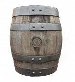 Antique oak barrel on a white background.