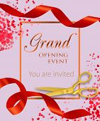 Grand Opening Event Lettering With Heart Confetti And Red Ribbons. Opening Event Invitation Design.  poster