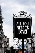 Handwriting Text Writing All You Need Is Love Motivational. Concept Meaning Deep Affection Needs App poster