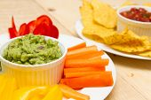 Guacamole And Salsa Dips A Starter Of Guacamole, Salsa And Different Dips Carrot, Pepper And Cucumbe poster
