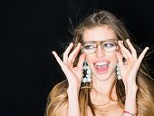 Glamour, Happy Woman In Glamour Glasses. Glamour Woman Smile With Glamour Look. poster