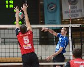 KAPOSVAR, HUNGARY - OCTOBER 29: Bence Bozoki (R) in action at a Hungarian National Championship voll