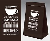 Paper Packaging With Label For Coffee Beans. Vector Label For Coffee With Cup, Bar Code And Text And poster