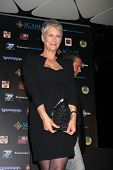 LOS ANGELES - OCT 30:  Jamie Lee Curtis poses with her award at the sCare Foundation Halloween Launch Benefit at Conga Room - LA Live on October 30, 2011 in Los Angeles, CA