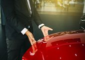 Asian Man Open Door Car With Technology Engine On Blurry Background.for Automotive Or  Maintenance,  poster