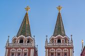 Closeup Of Resurrection Gate On Red Square In Moscow In A Sunny Day poster
