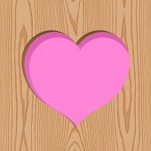 wood with heart hole pattern background