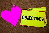 Text Sign Showing Objectives. Conceptual Photo Goals Planned To Be Achieved Desired Targets Company  poster