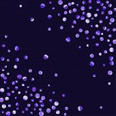 Lilac Shine Of Confetti. Luxury Festive Background. Lilac Abstract Shining Dot On A Black Background poster