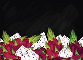 Dragon Fruit On Chalkboard Background. Dragon Fruit Composition, Plants And Leaves. Organic Food. Su poster