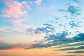 Beautiful Colors Sunset Clouds Sky Background.evening Sky With Colorful Sunset Cloud And Dusk Sky On poster