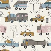 Baby Seamless Pattern With Cute Cars, Lion, Elephant And Dinosaurs. Perfect For Kids Fabric, Textile poster