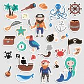 Set Of Pirates Vector Cartoon Stickers. Adventures And Pirate Party Sticker For Kindergarten. Childr poster