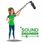 Sound Engineer Man Vector. Professional Videography Studio. Journalist With Microphone. Cartoon Illu poster