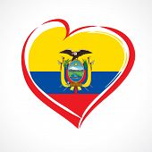 Love Ecuador Emblem With Heart In National Flag Color. National Holiday In Ecuador 13 May Vector Gre poster