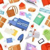 Postoffice Vector Postman Delivers Mails In Postbox Or Mailbox And Post Character Carries Mailed Let poster