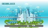 Smart City Landscape Of The Future Vector Concept Illustration In Flat Style. City Urban Skyline Wit poster